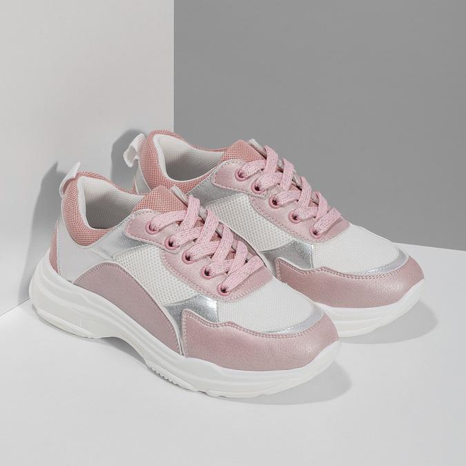 Dievčenské detské tenisky strieborno-ružové mini-b, ružová, 321-5684 - 26
