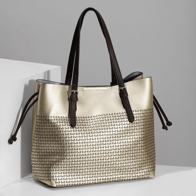 Zlatá dámska kabelka s perforáciou bata, zlatá, 961-8866 - 17