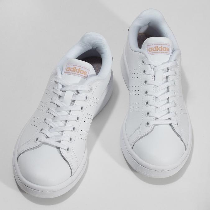 Dámske biele tenisky s perforáciou adidas, biela, 501-1854 - 16