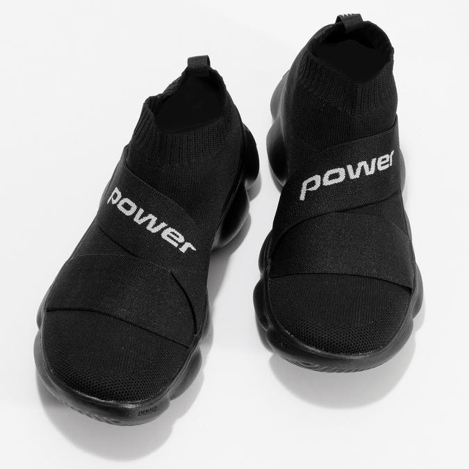 Dámske čierne členkové tenisky z úpletu power, čierna, 509-6237 - 16