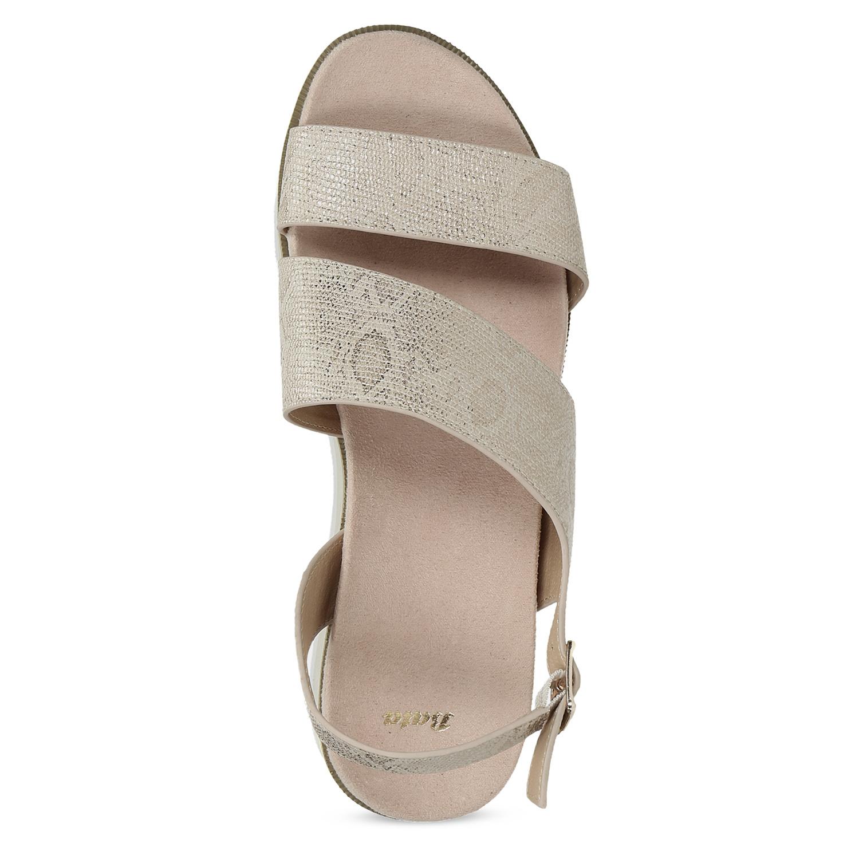 005da5206c30 Baťa Béžové dámske sandále na platforme - Klinový podpätok