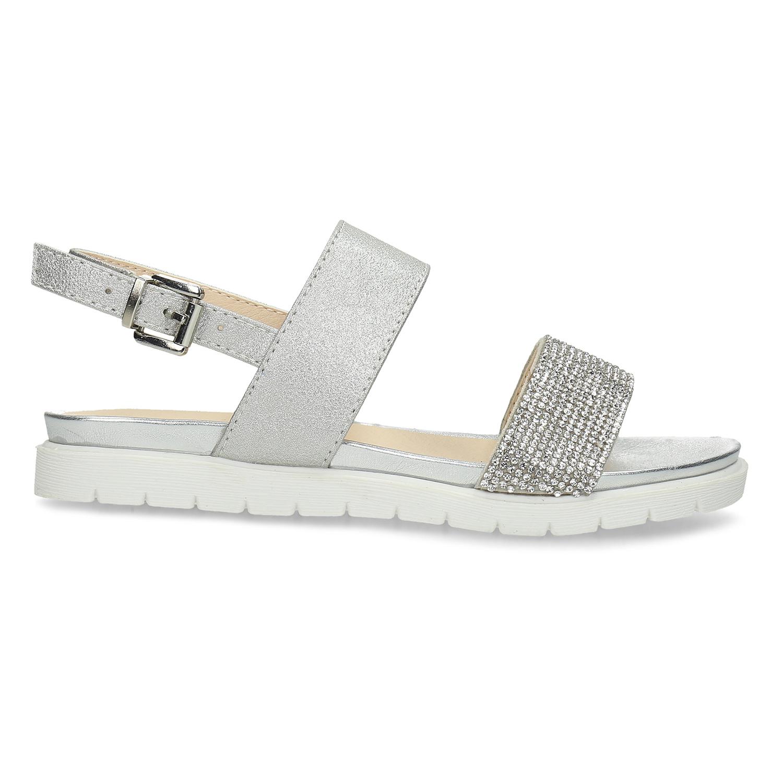 3e1f27814ea4 Mini B Strieborné sandále s kamienkami - Všetky dievčenské topánky ...