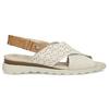 Béžové dámske kožené sandále s perforáciou comfit, béžová, 566-8610 - 19