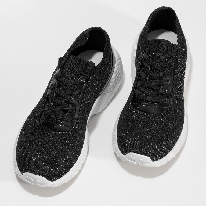 Čierne dámske tenisky z úpletu bata-light, čierna, 549-6615 - 16