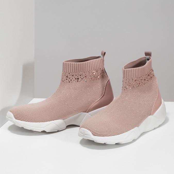 Dámske členkové tenisky ružové bata-light, ružová, 599-5628 - 16