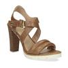 Hnedé kožené sandále na prírodnom podpätku flexible, hnedá, 763-3631 - 13