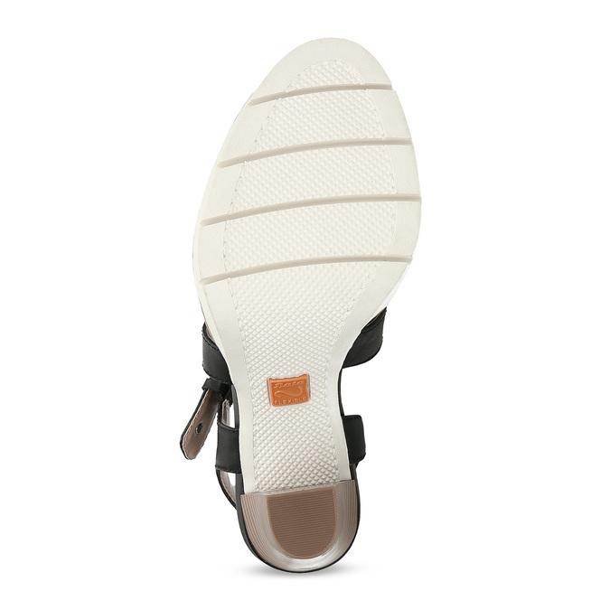 Kožené čierne sandále na prírodnom podpätku flexible, čierna, 763-6631 - 18