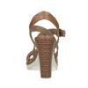 Hnedé kožené sandále na prírodnom podpätku flexible, hnedá, 763-3631 - 15