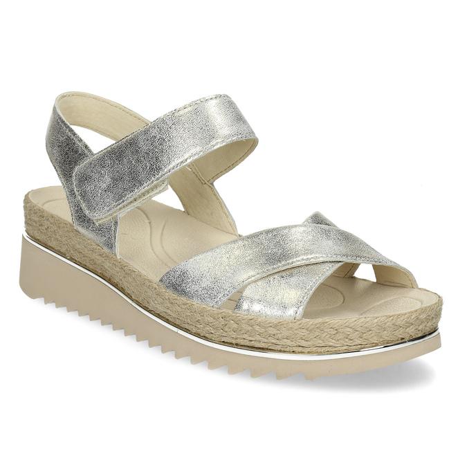 3c7b2b4e48ac6 Gabor Zlaté kožené sandále s prírodnou podrážkou - Klinový podpätok ...