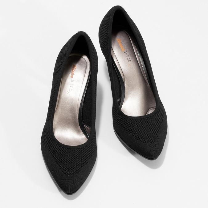 Čierne ležérne dámske lodičky s perforáciou bata-b-flex, čierna, 729-6641 - 16