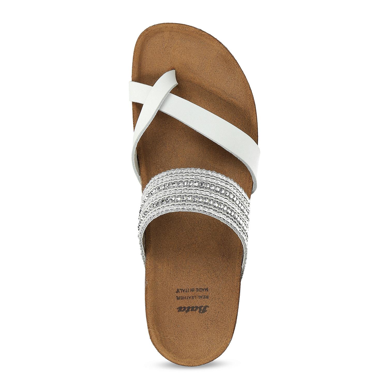 c1fe8704a4cf8 ... Kožené sandále na kline s kamienkami bata, biela, 666-1600 - 17 ...