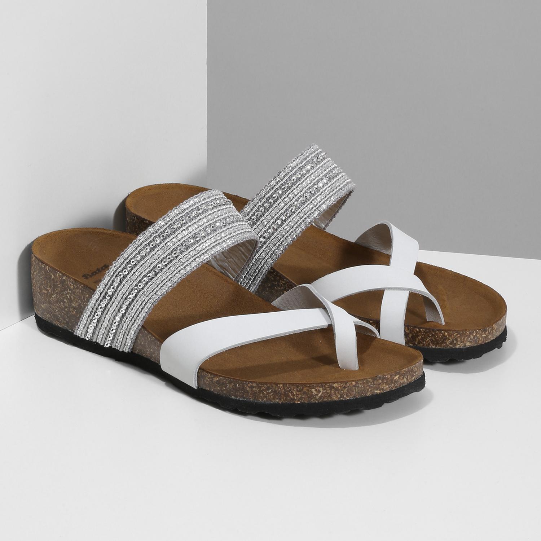 a939fb99c5e0e ... Kožené sandále na kline s kamienkami bata, biela, 666-1600 - 26 ...