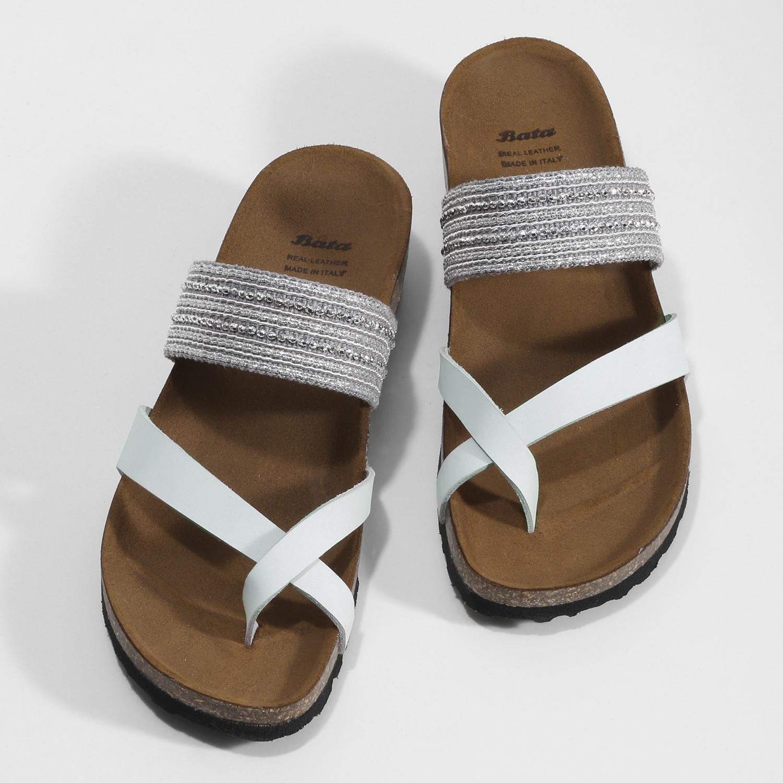 11e223d1992c5 ... Kožené sandále na kline s kamienkami bata, biela, 666-1600 - 16 ...