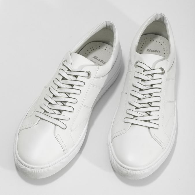 Biele kožené pánske tenisky bata, biela, 844-1649 - 16