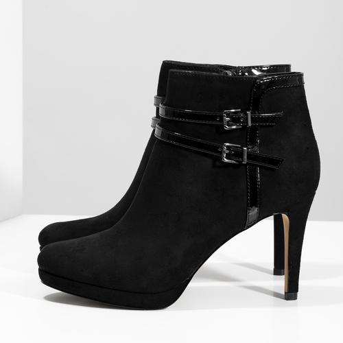 Členkové čierne čižmy na ihličkovom podpätku bata, čierna, 799-6624 - 16