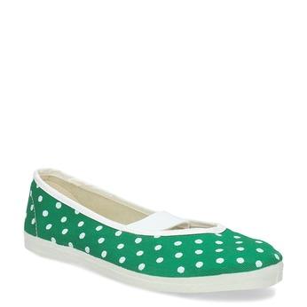 Zelené detské prezuvky s bodkami bata, zelená, 379-7100 - 13