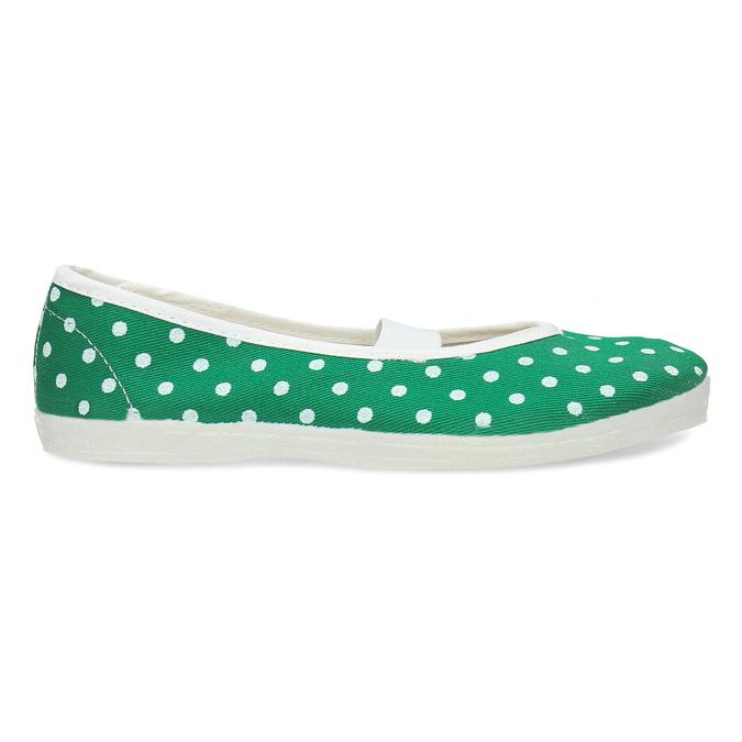 Zelené detské prezuvky s bodkami bata, zelená, 379-7100 - 19