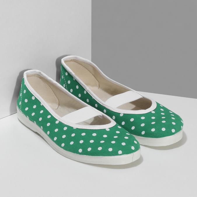 Zelené detské prezuvky s bodkami bata, zelená, 379-7100 - 26