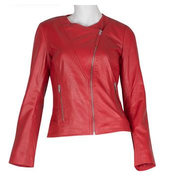 Červená dámska kožená bunda bata, červená, 974-5177 - 13