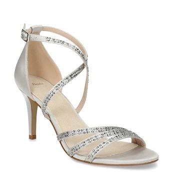 Strieborné sandále na podpätku s kamienkami bata, strieborná, 729-1609 - 13