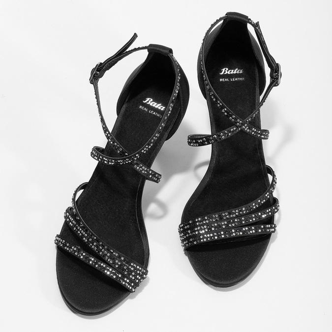 Čierne sandále na ihličkovom podpätku s kamienkami bata, čierna, 729-6609 - 16