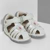 Členkové detské sandále s kvetinovou ozdobou bubblegummers, biela, strieborná, 161-1607 - 26