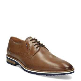 Pánske hnedé kožené Derby poltopánky bata, hnedá, 826-3616 - 13
