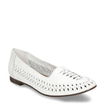 Biele kožené dámske mokasíny s prepletením bata, biela, 524-1607 - 13