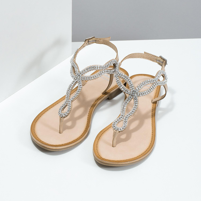 b8e35799d6770 ... Kožené béžové dámske sandále s kamienkami bata, béžová, 566-8640 - 16  ...