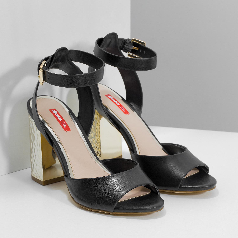 9be228685ad4 Bata Red Label Čierne sandále na zlatom podpätku - Zľavy