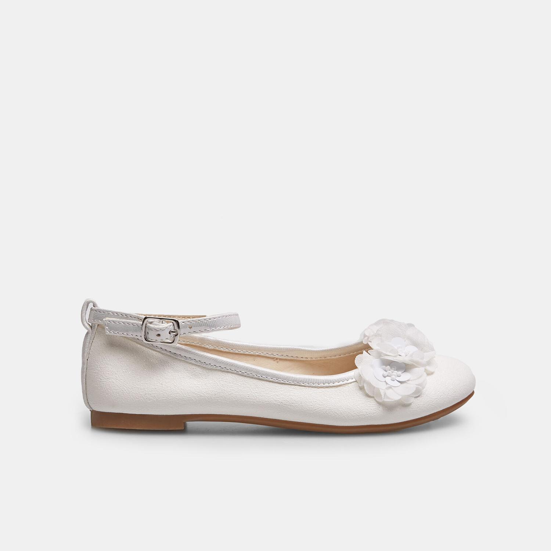 f868f9f58cbc Mini B Dievčenské biele baleríny s kytičkami - Všetky detské topánky ...