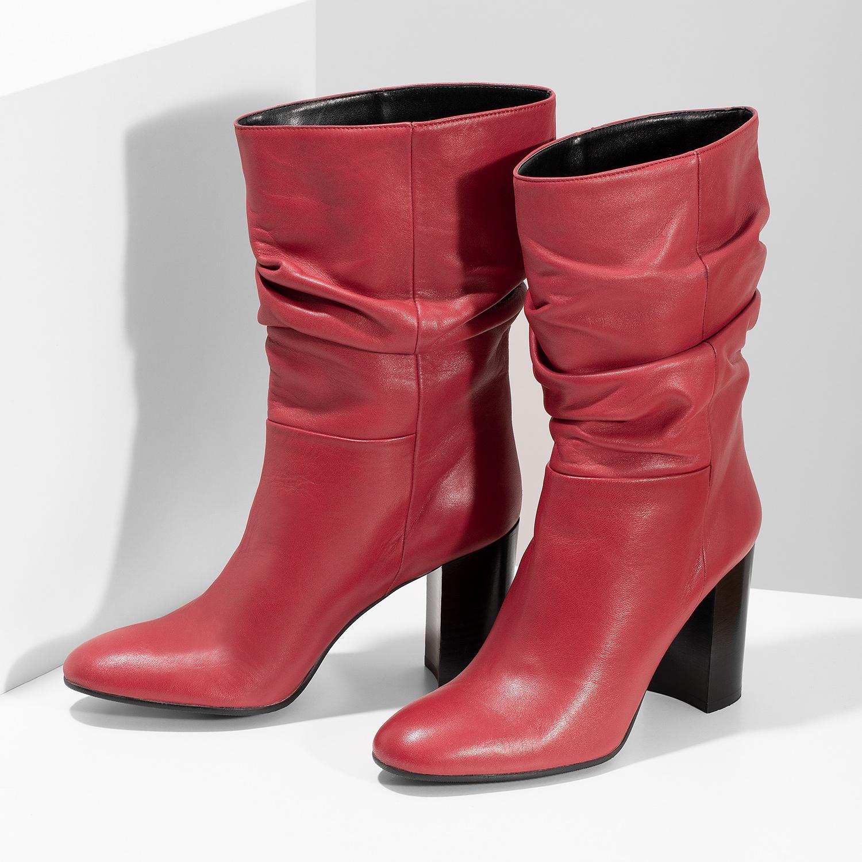 fd0308e1bb Baťa Červené kožené čižmy s riasením - Na podpätku